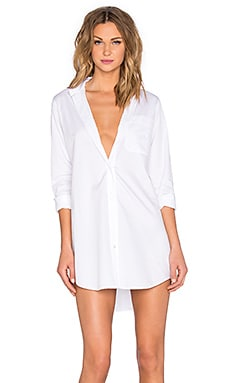 T by Alexander Wang Cotton Poplin Long Sleeve Shirt Dress in White