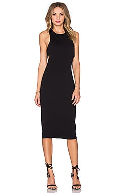 Ponte Bandeau Back Maxi Dress in Black