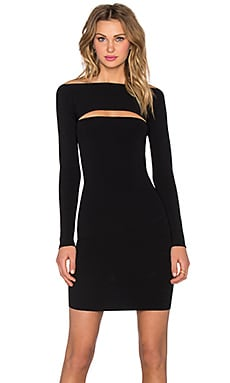 T by Alexander Wang Full Needle Knit Long Sleeve Bandeau Mini Dress in Black