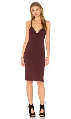 Fitted Spaghetti Strap Dress in Aubergine