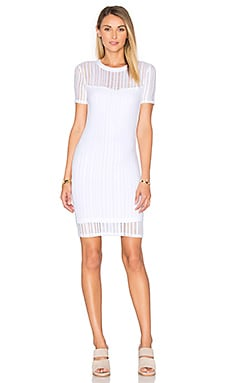 T by Alexander Wang Short Sleeve Fitted Dress in White