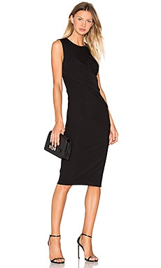Matte Jersey Drape Dress in Black