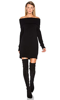 Cashwool Off The Shoulder Dress en Noir