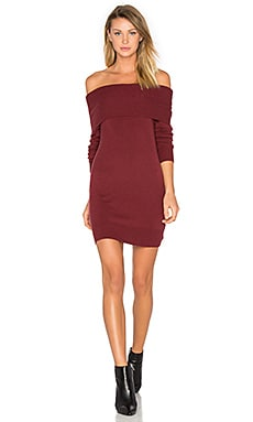 Cashwool Off The Shoulder Dress in Wine