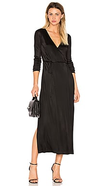 Long Sleeve Wrap Dress en Noir