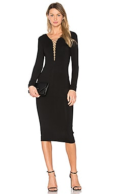 Lace Up Midi Dress in Schwarz