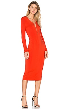 Lace Up Midi Dress in Scarlet
