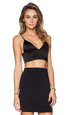 T by Alexander Wang Stretch Satin Triangle Bralette in Black