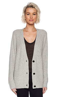 T by Alexander Wang Cash Wool Half Cardigan Stitch Oversize Cardigan in Heather Grey