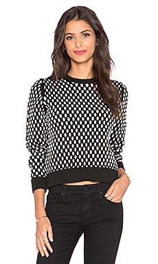 T by Alexander Wang Crop Crewneck Sweater in Black & White