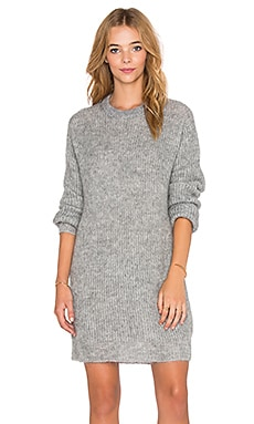 T by Alexander Wang Mohair Knit Long Tunic Sweater in Heather Grey