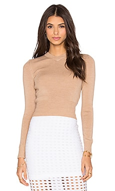 T by Alexander Wang Superfine Merina High V Neck Sweater in Camel