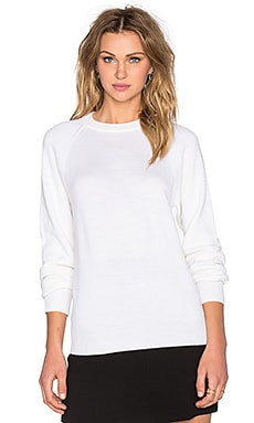 T by Alexander Wang Jersey Cutout Raglan Sweater in Ivory