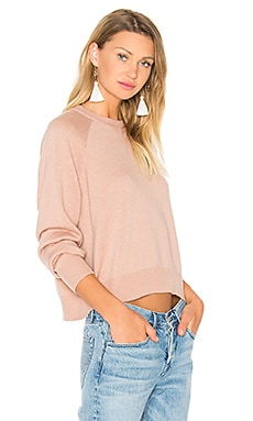 T by Alexander Wang Crew Neck Crop Sweater in Peach