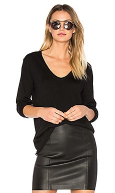 Merino Jersey V Neck Pullover in Black