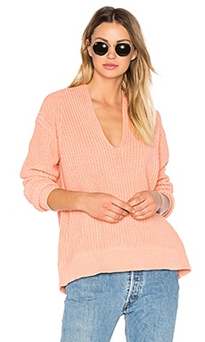 Deep V Neck Pullover in Salmon