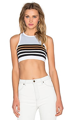 T by Alexander Wang Stretch Cotton Engineer Stripe Sports Bra in Ice Multi