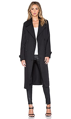 T by Alexander Wang Sleek Trench Coat in Black