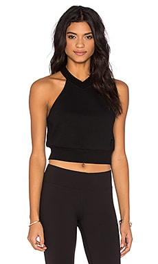T by Alexander Wang Top Dyed Fleece Halter Sweatshirt in Black