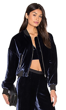 Silk Velvet Batted Bomber in Navy