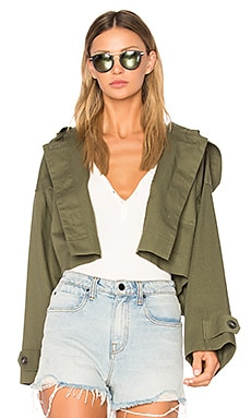 Crop Hooded Jacket in Surplus