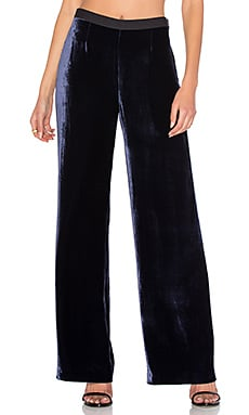 Silk Velvet Wide Leg Pant in Navy