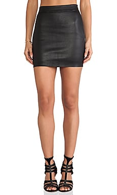 T by Alexander Wang Stretch Leather High Waisted Skirt in Black