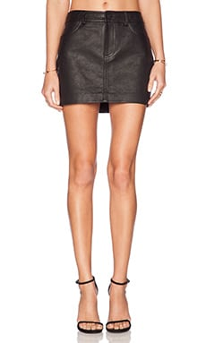 T by Alexander Wang Waxy Cow Leather Jean Skirt in Black