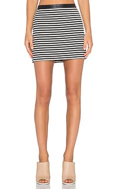 T by Alexander Wang Twisted Stripe Mini Skirt in Black & White