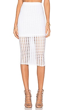 T by Alexander Wang Circular Hole Jacquard Jersey Maxi Skirt in White