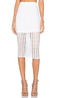 Circular Hole Jacquard Jersey Maxi Skirt