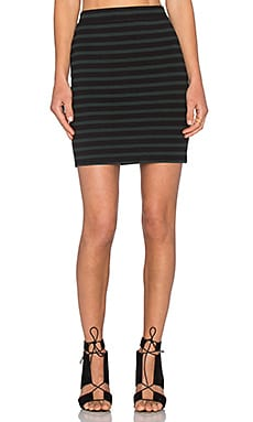 T by Alexander Wang Stretch Cotton Engineer Stripe Mini Skirt in Mint & Black