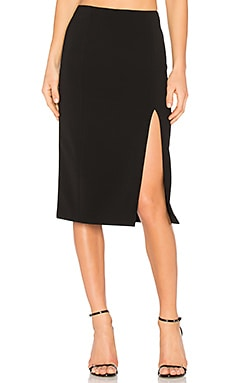 Slick Pencil Skirt With Slit в цвете Черный