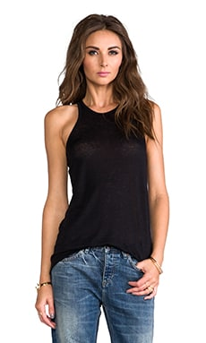 T by Alexander Wang Linen Silk Jersey Tank in Black