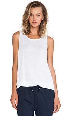T by Alexander Wang Linen Silk Jersey Oversized Tank in White