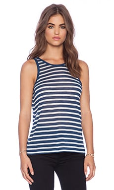 T by Alexander Wang Stripe Rayon Linen Tank in Marine & White