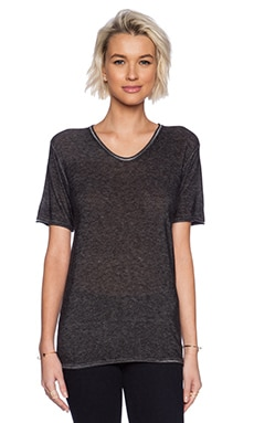 T by Alexander Wang Viscose Blend Plaited Short Sleeve Tee in Black & White