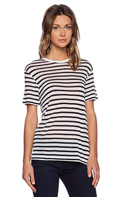 T by Alexander Wang Stripe Rayon Linen Short Sleeve Tee in Ink & White