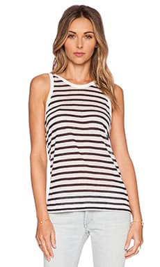 T by Alexander Wang Stripe Rayon Linen Tank in Off White & Navy