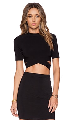 T by Alexander Wang Knit Criss Cross Top in Black