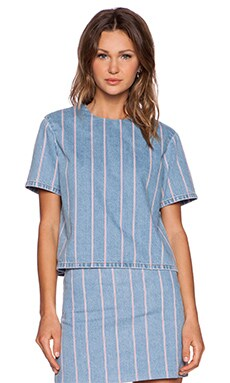 T by Alexander Wang Stripe Denim Boxy Top in Light Indigo