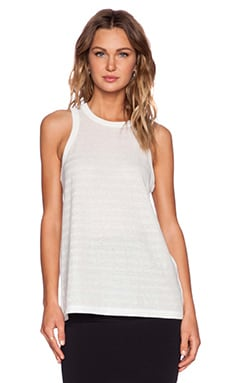 T by Alexander Wang Stripe Jacquard Tank in White