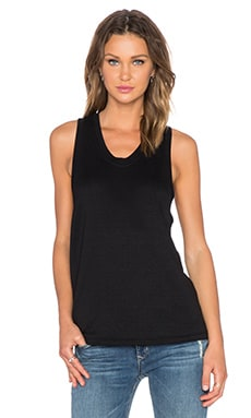 T by Alexander Wang French Terry Tank in Black
