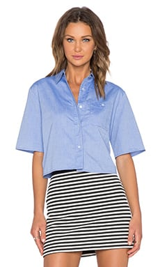 T by Alexander Wang Crop Boxy Shirt in Navy
