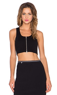 T by Alexander Wang 2X2 Rib Crop Tank in Black