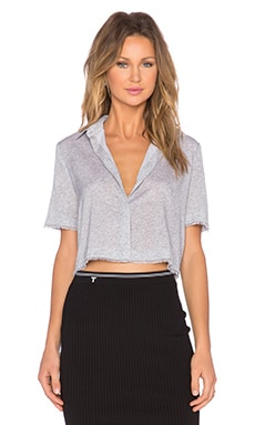 T by Alexander Wang Crop Shirt in Heather Grey