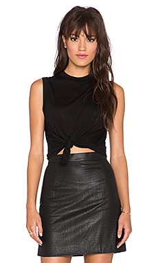 T by Alexander Wang Viscose Jersey High Neck Tank in Black