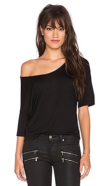 T by Alexander Wang Viscose Jersey Low Neck Tee in Black