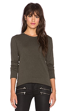 T by Alexander Wang Classic Long Sleeve Tee with Pocket in Lichen