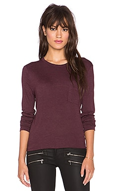 T by Alexander Wang Classic Long Sleeve Tee with Pocket in Plum
